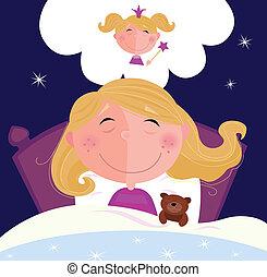 kleine, meisje, is, slapende, en, dromen