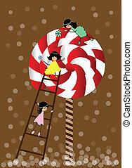 kleine, meisje, lollipop