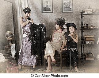 kleine meisjes, drie, old-fashion