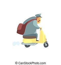kleine, mollig, scooter, brievenbesteller