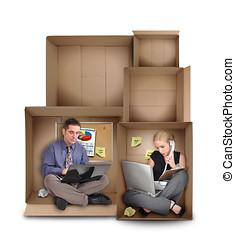 kleine, ondernemer, mensen, werkende , in doos