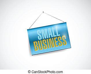 kleine onderneming, hangend, spandoek, illustratie