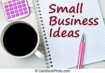 kleine onderneming, ideeën, op, notepad