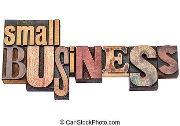 kleine onderneming, typografie, in, hout, type