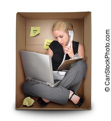 kleine onderneming, vrouw, in, kantoor, doosje