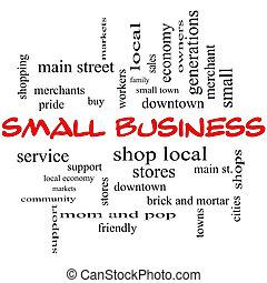 kleine onderneming, woord, wolk, concept, in, rood, beslag