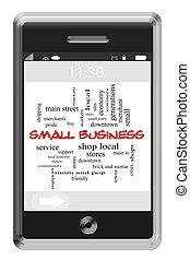 kleine onderneming, woord, wolk, concept, op, touchscreen, telefoon