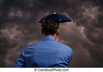 kleine, paraplu, zakenmens