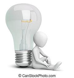 kleine, persoon, bulb., 3d