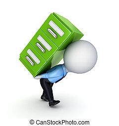 kleine, persoon, groene, bookcase., 3d