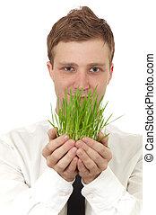 kleine, plant, vasthouden, man