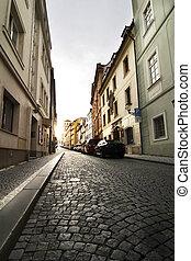 kleine, praag, straat, -