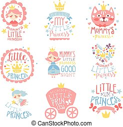 Kleine Prinzessin, Satz, Von, Drucke, Für, Säugling, Mädchen Zimmer,