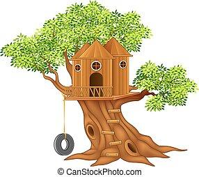 kleine, schattig, boom huis