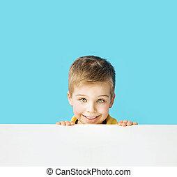kleine, schattig, het glimlachen, jongen, het maken van gezichten
