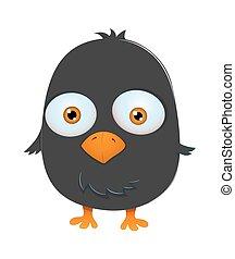kleine, schattig, karakter, vogel