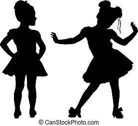 kleine, silhouette, kinderen, vrolijke