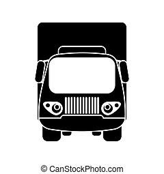 kleine, silhouette, vracht vrachtwagen, vervoer
