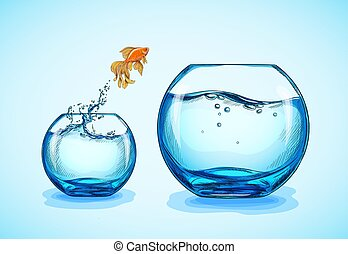 kleine, springt, goudvis, groter, fishbowl
