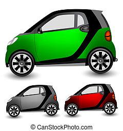 kleine, stad, auto