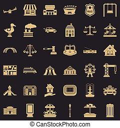 kleine, stad, iconen, set, eenvoudig, stijl