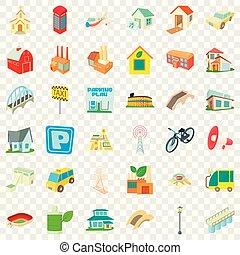kleine, stad, iconen, set, spotprent, stijl