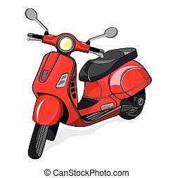 kleine, stad, vector, motorfiets