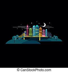 kleine, stad, vector, nacht