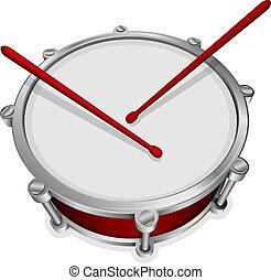 kleine, trommel, rood