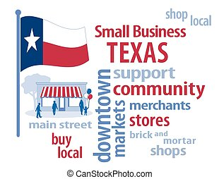 kleine, vlag, texas, zakelijk