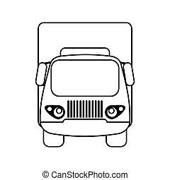 kleine, vracht vrachtwagen, schets, vervoer