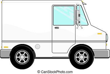 kleine, vracht vrachtwagen, spotprent