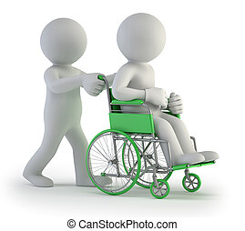 kleine, wheelchair, 3d, -, mensen