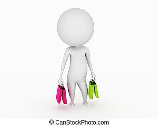 kleine, zakken, kerel, shoppen