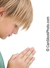 kleiner junge, beten, mit, augen schlossen