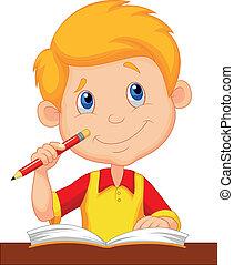 kleiner junge, karikatur, studieren