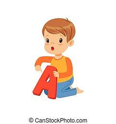 kleiner junge, lernen, korrekt, aussprache, von, brief, a., spaß, erzieherisch, game., bunte, karikatur, kind, zeichen, in, wohnung, stil