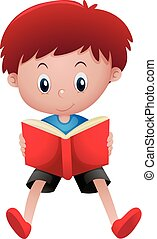 kleiner junge, lesend buch, alleine