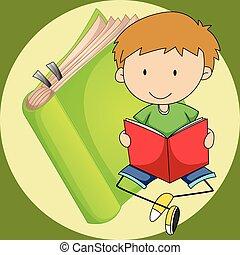 kleiner junge, lesend buch