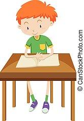 kleiner junge, lesende , alleine