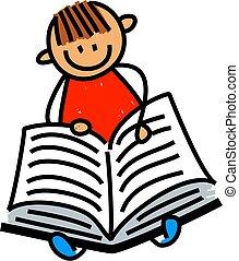 kleiner junge, lesende