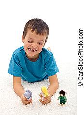 kleiner junge, spielende , inländische gewalttätigkeit, spiel, mit, marionetten