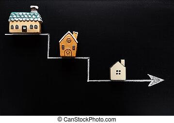 kleiner, richtingwijzer, bord, samller, dons, huisen, gaan, achtergrond