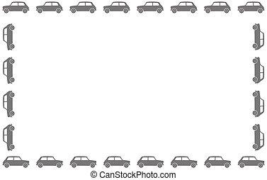 kleines auto, silhouette, umrandungen
