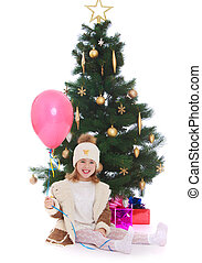 kleines mädchen, an, der, weihnachtsbaum