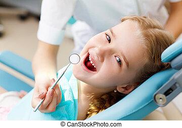 kleines mädchen, besuchen, zahnarzt