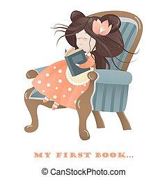 kleines mädchen, lesen buches
