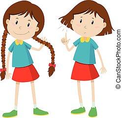kleines mädchen, mit, langer, und, kurzes haar