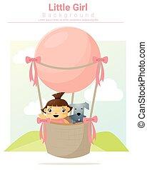 kleines mädchen, reiten, heiãÿluftballon