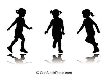 kleines mädchen, rennender , silhouetten